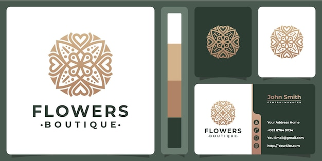 Flower boutique luxury logo with business card design