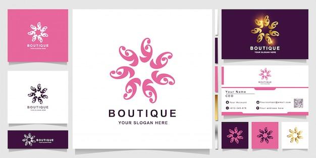 名刺デザインと花、ブティック、または飾りのロゴのテンプレート。