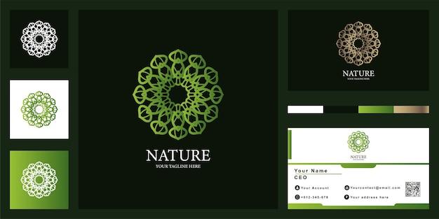 명함이 있는 꽃, 부티크 또는 장식 고급 로고 템플릿 디자인.