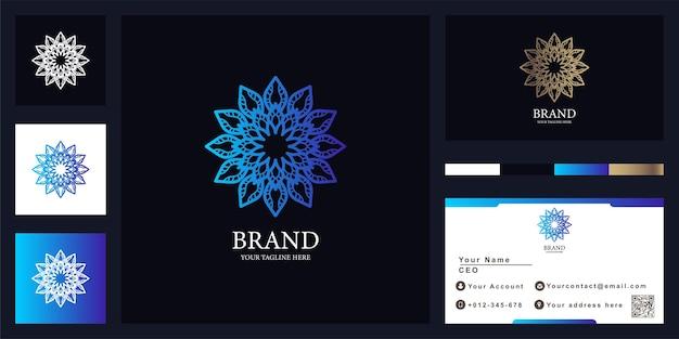 名刺と花、ブティックまたは装飾品の豪華なロゴのテンプレートデザイン。