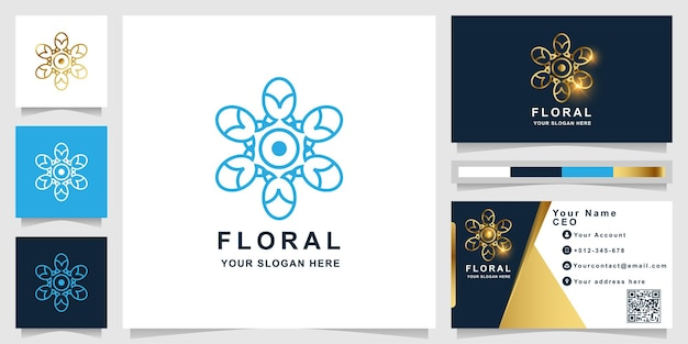 Flower, boutique or ornament logo template with business card design. can be used spa, salon, beauty or boutique logo design.