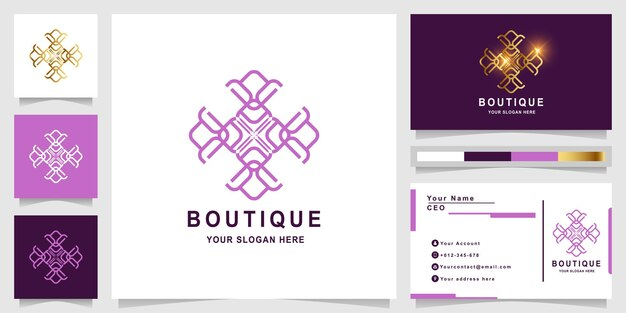 Flower, boutique or ornament logo template with business card design.