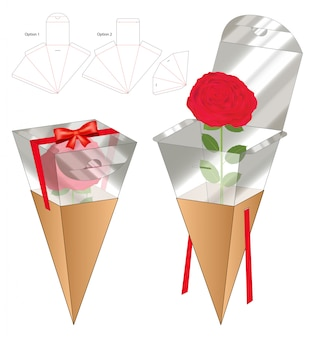 Flower box packaging die cut template design