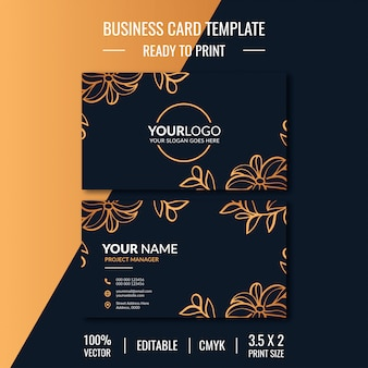 Flower business card template with double sided