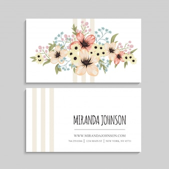 Flower business cards beige flowers template