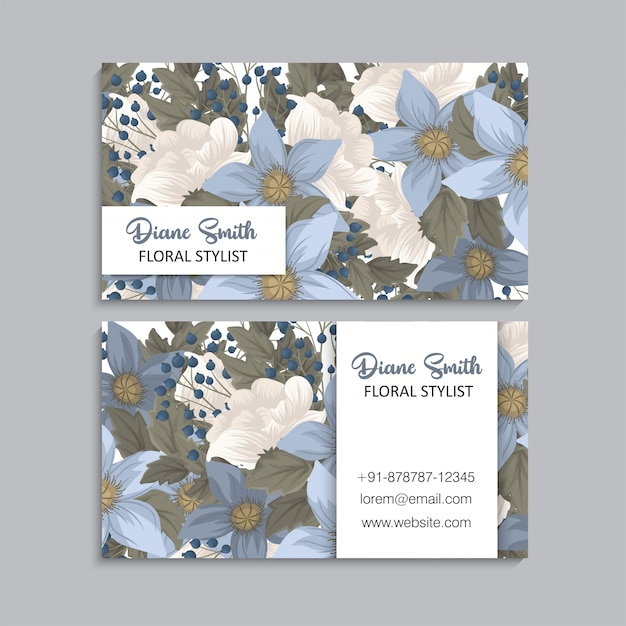 Flower business cards blue floral