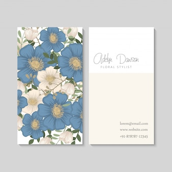Flower business cards blue flowers