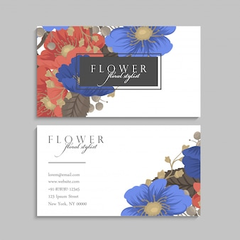 Flower business cards blue and red background