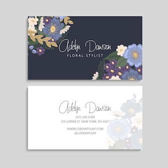 Flower business cards blue