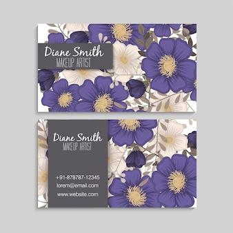 Flower business cards blue