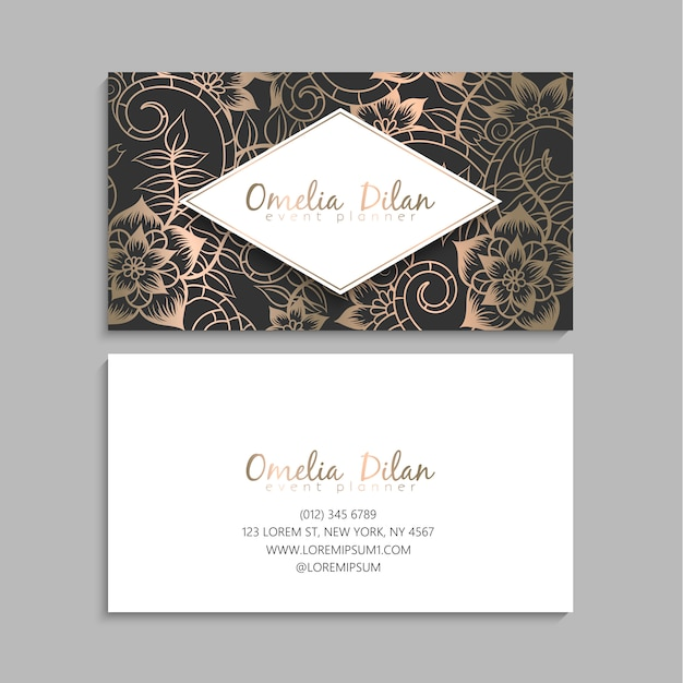 Flower business cards gold and black