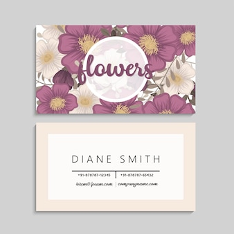 Flower business cards hot pink flowers