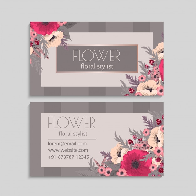 Flower business cards hot pink
