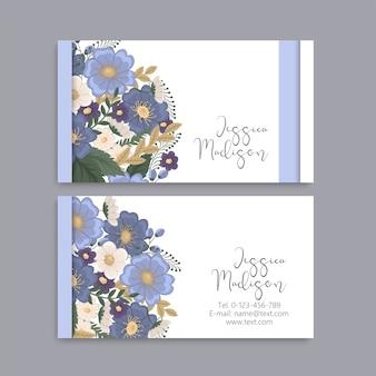 Flower business cards light blue