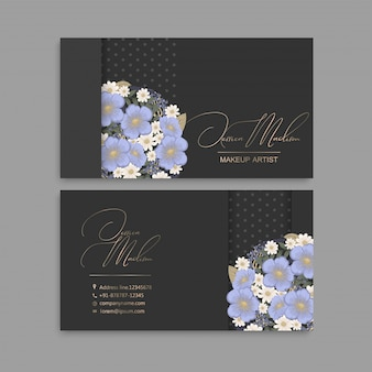 Flower business cards light blue