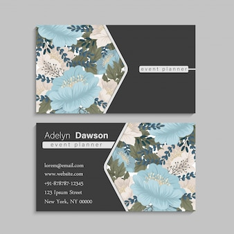 Flower business cards mint green