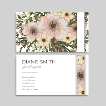 Flower business cards pastel flowers