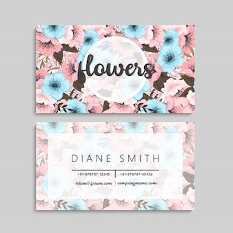 Flower business cards pink and blue flowers