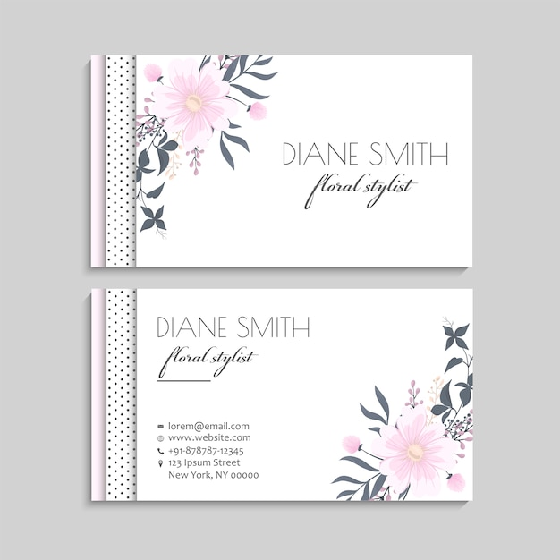 Flower business cards pink flowers