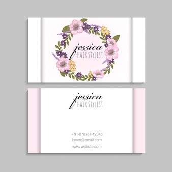 Flower business cards pink wreath