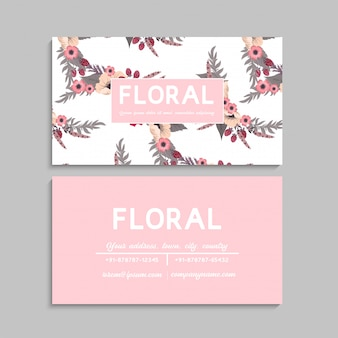 Flower business cards pink