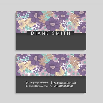 Flower business cards purple flowers