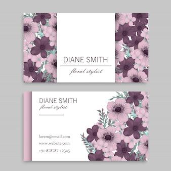 Flower business cards purple flowers