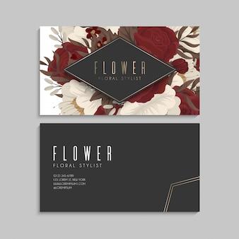 꽃 명함 붉은 꽃