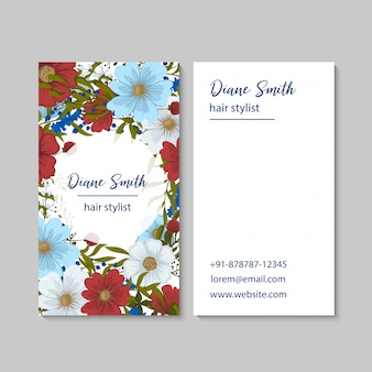 Flower business cards red flowers
