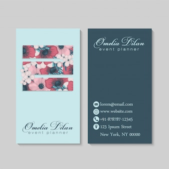 Flower business cards template geometric