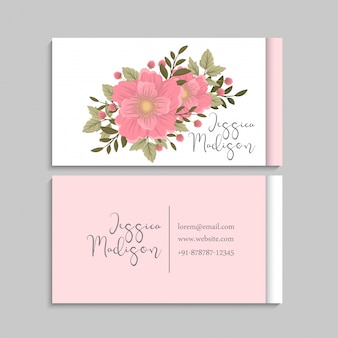 Flower business cards template pink