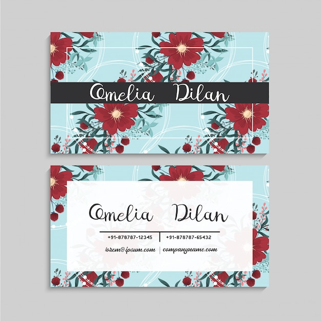 Flower business cards template red and mint green