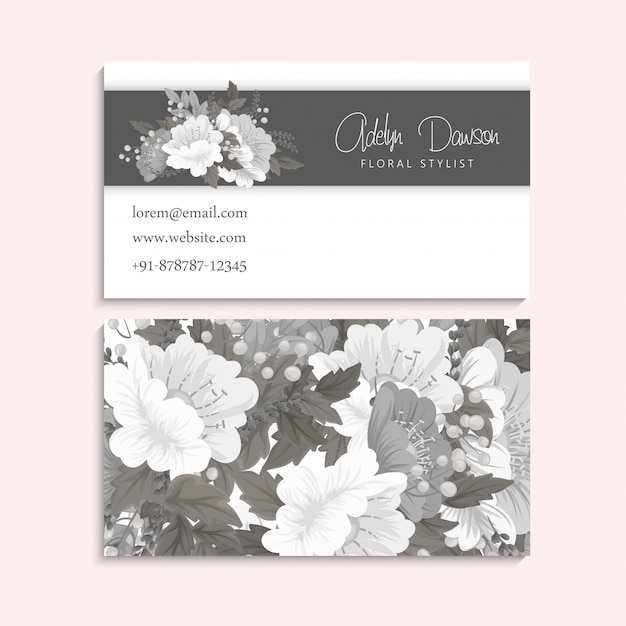 Flower business cards white and black Free Vector