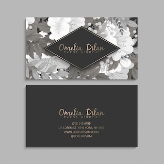 Flower business cards white and black
