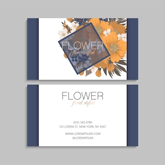 Flower business cards yellow flowers