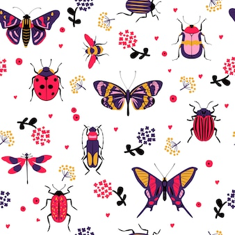 Flower butterfly and bug seamless pattern