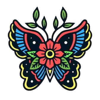 Flower on butterfly old school tattoo