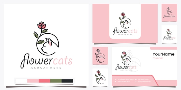 Flower cats with beautiful line art logo design inspiration
