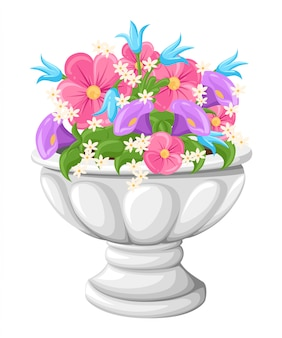 Flower in ceramic grey flowerpots for cultivation of plants. clay pot in an isometry, isolated on a white background.