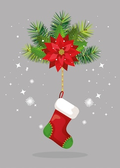 Flower christmas with sock hanging