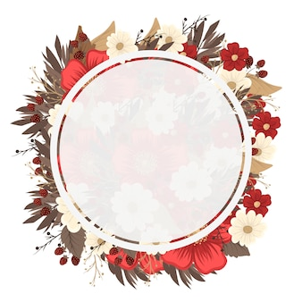 Flower circle border drawing - red frame