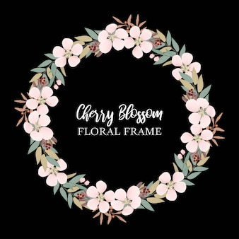 Flower circle border with cherry blossom and greenery