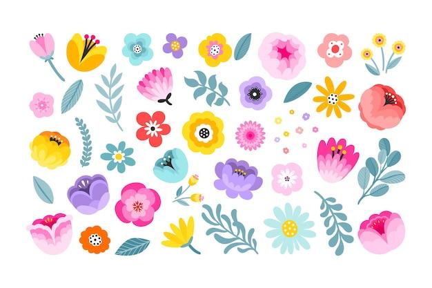 손으로 그린 최소한의 꽃 요소 다채로운 여름 꽃 장식