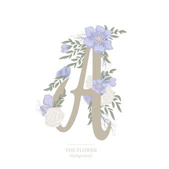花のクリップアート文字a