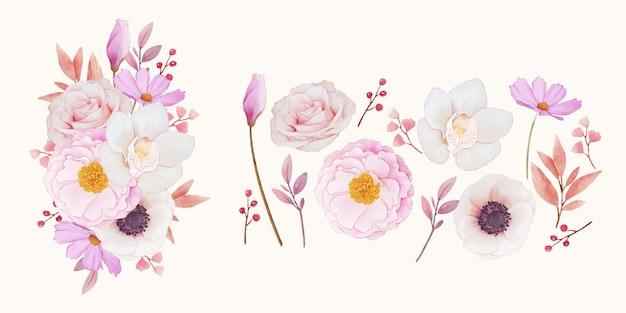 핑크 장미 난초와 아네모네 꽃 클립 아트