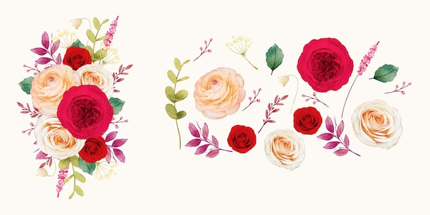 Flower clipart of red roses and ranunculus flowers