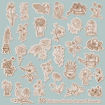 タグの花のコレクション-スクラップブック、デザイン用