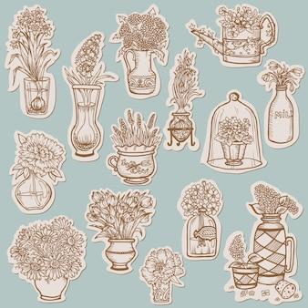 タグの花のコレクション-スクラップブック用