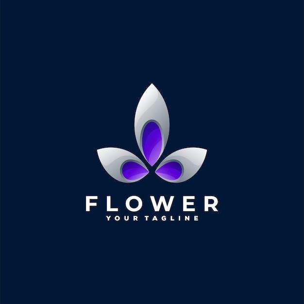 花の色のグラデーションのロゴのデザイン