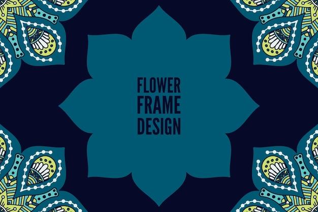 花カラフルな丸い飾りフレーム